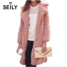 цены на Seily Winter Luxury Pink Long Sleeve Faux Fur Fluffy Jacket Plush Fake Lamb Wool Fur Turn Down Collar Furry Coat Women Cardigan  в интернет-магазинах
