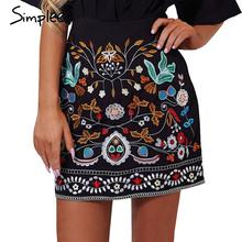 Simplee Retro embroidery black floral short skirt Casual autumn winter high waist slim women skirt Vintage 90's mini skirts