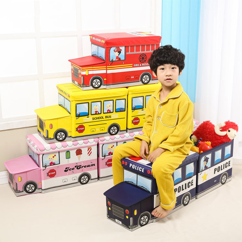 NEW Bus Shape Toys Organizer for Kids Clothes Toy Storage Box Folding Cartoon Car Toy Storage Basket Children Storage Bin
