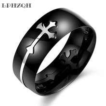 LPHZQH fashion Stainless Steel vintage cross Men Ring engagement wedding Jewellery charm personality finger accessory steampunk
