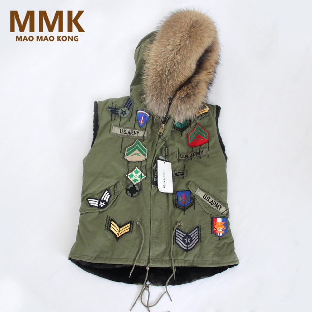 2018 New Winter Fur Vest Hooded British Style Army Green Color Real Raccoon  Fur Collar Women Gilets Brand Hot Sale 38934ddfd