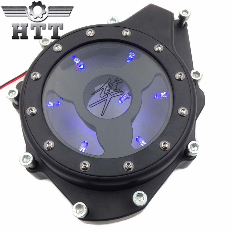 Aftermarket free shipping Motorcycle parts Blue LED see through Engine Stator Cover fit for Suzuki GSX1300R Hayabusa 99-15 Black aftermarket free shipping motorcycle parts engine stator cover for suzuki hayabusa gsx 1300r 1999 2015 left side chrome
