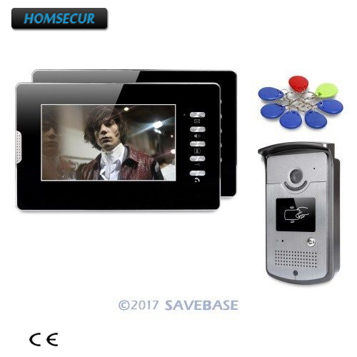 HOMSECUR 7inch Hands-free Video Door Phone Intercom System With Keyfobs Unlocking Camera