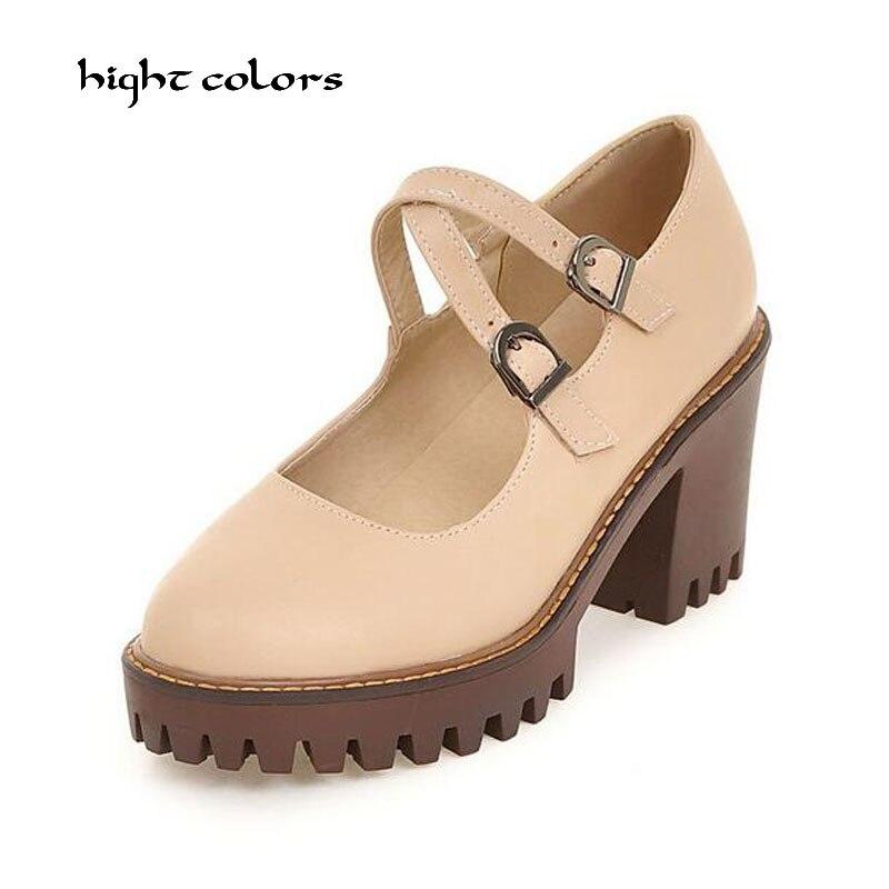 Size 34-43 Black Gray Beige Brown Apricot College style Heels Women Shoe Platform High Heels Shoes Mary Janes Women Pumps HC-232 one piece style cap hat brown beige