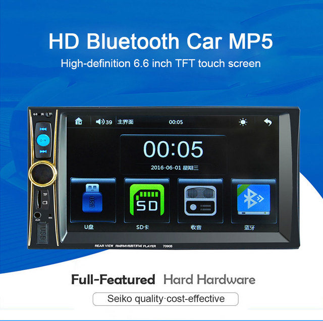 US $84 99 |7090B 2 Din 6 6 inch Car MP3/MP4/MP5 Player FM Radio Bluetooth  Support Mobile Internet Rear View Camera-in Car MP4 & MP5 Players from