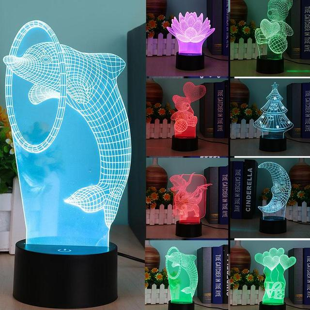 3D LED USB Charging Touch Desk Night Light 7-Color Changing Bedroom Lamp Decor