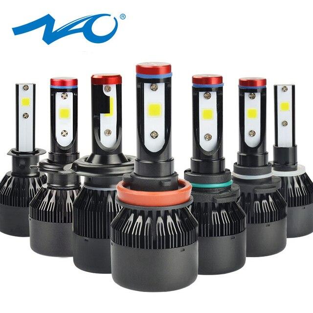 NAO H7 led Headlights H4 LED Bulb Car H11 H9 H1 H3 HB4 HB3 9005 9006 H8 H27 9004 H13 881 880 72W 8000LM 12V light White 6000K