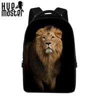 Lion Pattern Front View 17 Inch Poly Notebook Computer Backpacks For Women Worker Girls Student Large