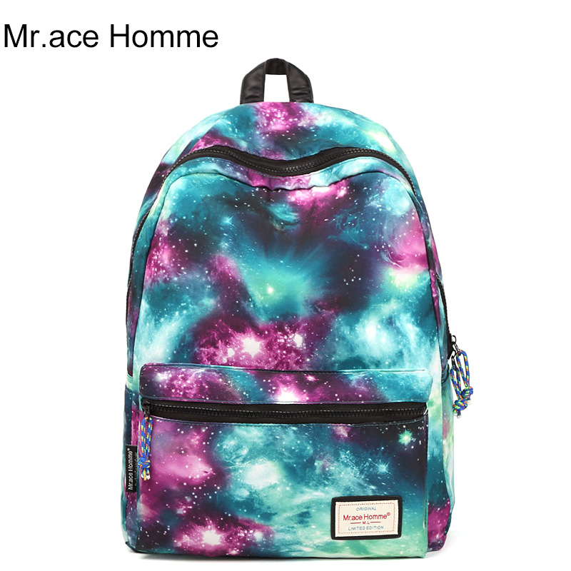 2017 women new fashion casual backpack new style nylon 3D Galaxy printed school bags famous designer