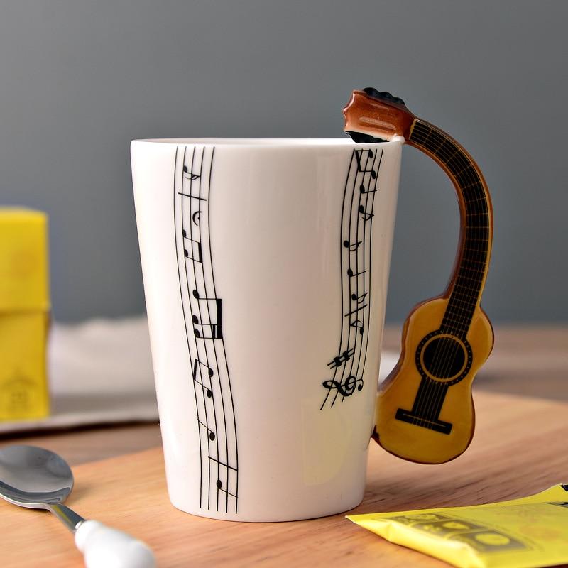 4 Colors Ukulele Music Cup Ceramic Handgrip Coffee Mugs Music Lovers Milk Tea Water Cups Bottle Novelty Gifts