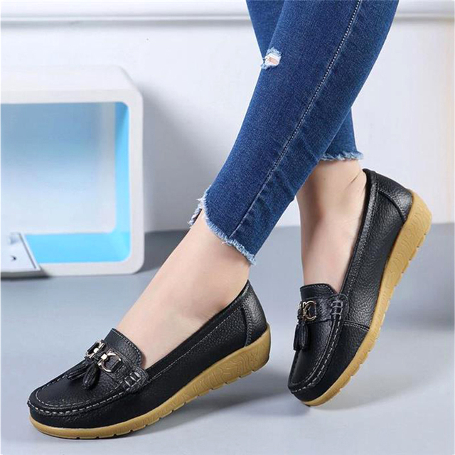 Spring Flats Women Shoes Loafers Genuine Leather Women Flats Slip On Women's Loafers Female Moccasins Shoes Plus Size 35-44