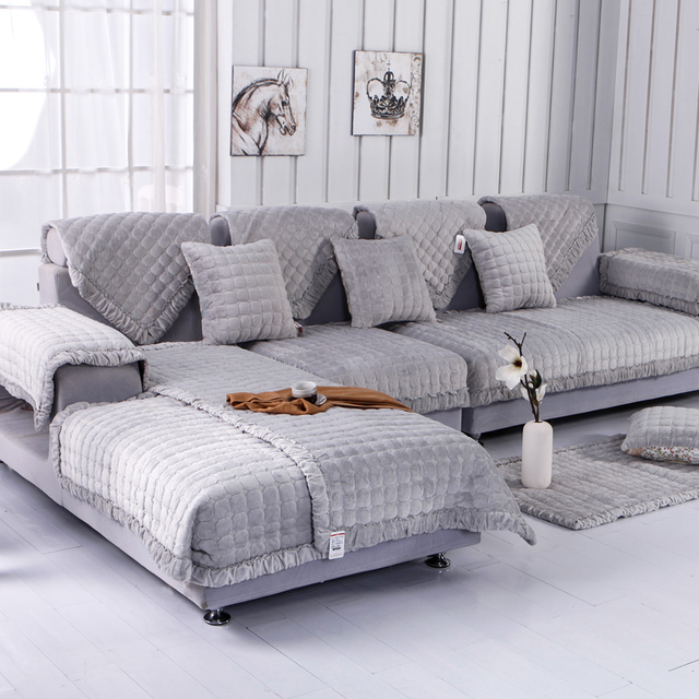 Fleeced Fabric Sofa Cover European Style Soft Modern Slip Resistant Slipcover Seat Couch For