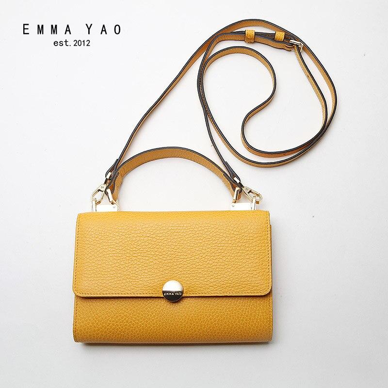 EMMA YAO genuine leather font b women b font messenger font b bags b font fashion