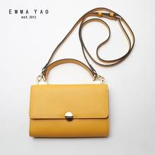 EMMA YAO genuine leather women messenger bags fashion crossbody bag famous brand women bag