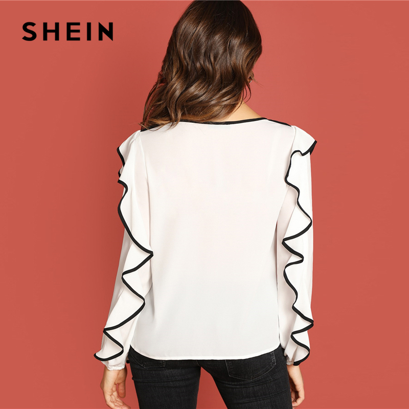 29f0198551 SHEIN White Ruffle Detail Tunic Top Elegant Weekend Casual Long Sleeve  Pullover Women Autumn Plain Minimalist Tops And Blouses-in Blouses & Shirts  from ...