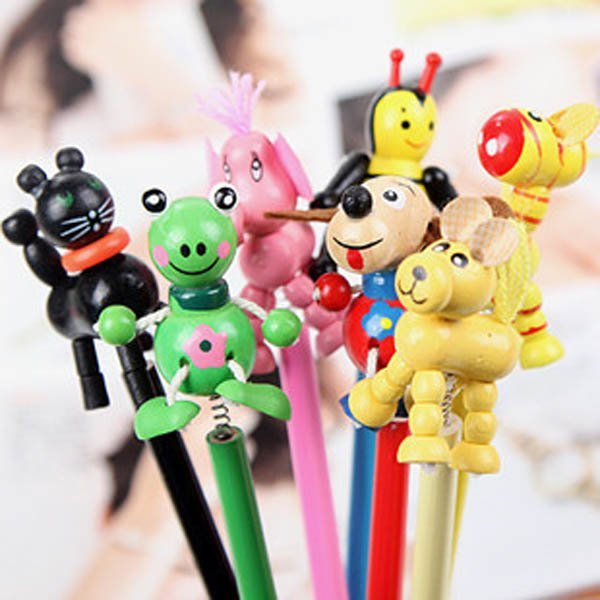 Children Funny Snakable Wooden Puppet HB Pencils Wood Pencils Stationery For Student Gift, 60pcs/lot Wholesales & Free Shipping