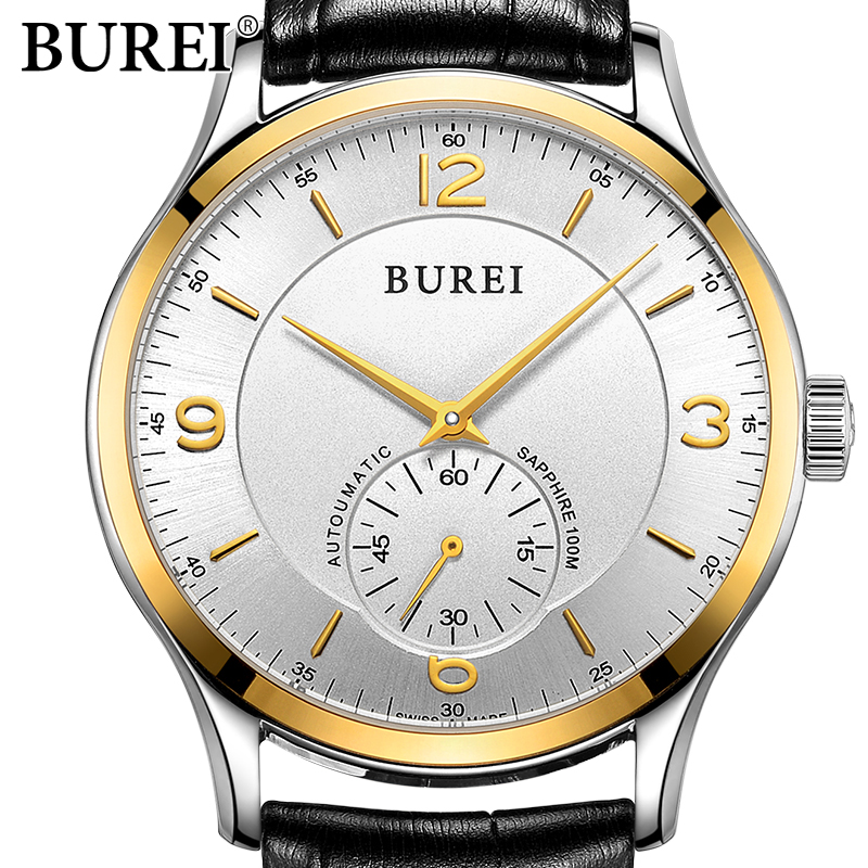 BUREI Fashion Men casual Watches Sport Genuine Leather Quartz Watch Dress Clock hours Male Business wristwatch Relogio Masculino new listing men watch luxury brand watches quartz clock fashion leather belts watch cheap sports wristwatch relogio male gift