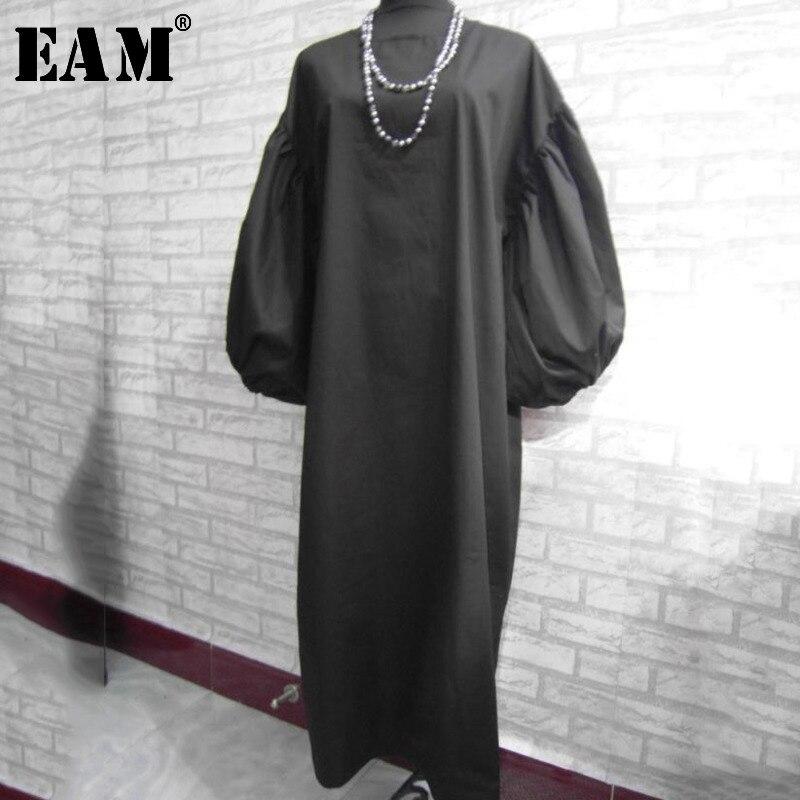 EAM 2019 New Spring Summer O Collar Lenter Sleeve Loose Vintage Mid calf Pullover Long