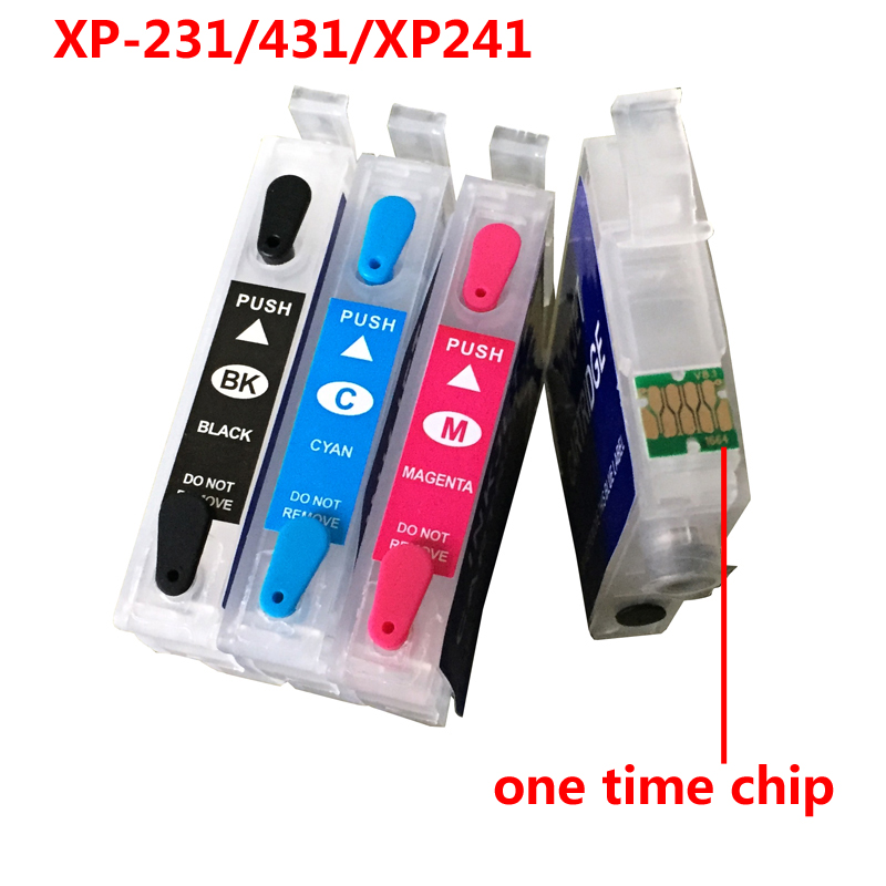 T2971 XP231 XP241 Cartridge For Epson T2971 Refillable Ink Cartridge For Epson XP-431 XP-441 XP-231 With One Time Chips 4 colors кисть плоская lasur standard смешанная щетина 20мм stayer 01031 20