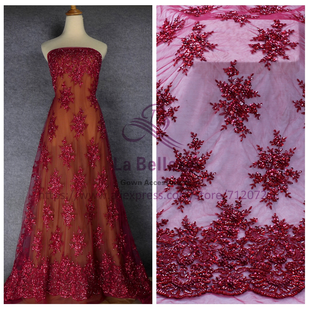La Belleza 1 YARD heavy handmade beadED lace fabric wine IVORY gray wedding dress lace fabric