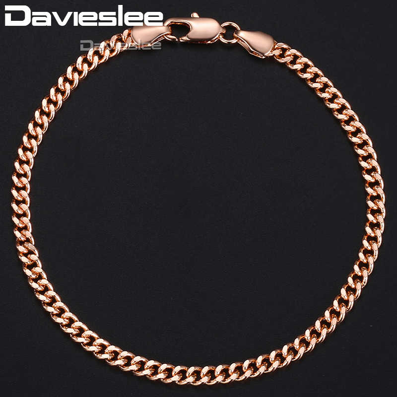 Davieslee łańcuchy bransoletki dla kobiet mężczyzn 585 różowe złoto Curb kubański Link biżuteria damska bransoletka łańcuch 4mm 18-23cm LGB432