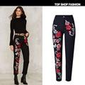 2017 New Women 3D Embroidery Jeans femme Plus Size Spring Zipper Straight Denim Pants Jeans Women Fashion Pocket Black Trousers