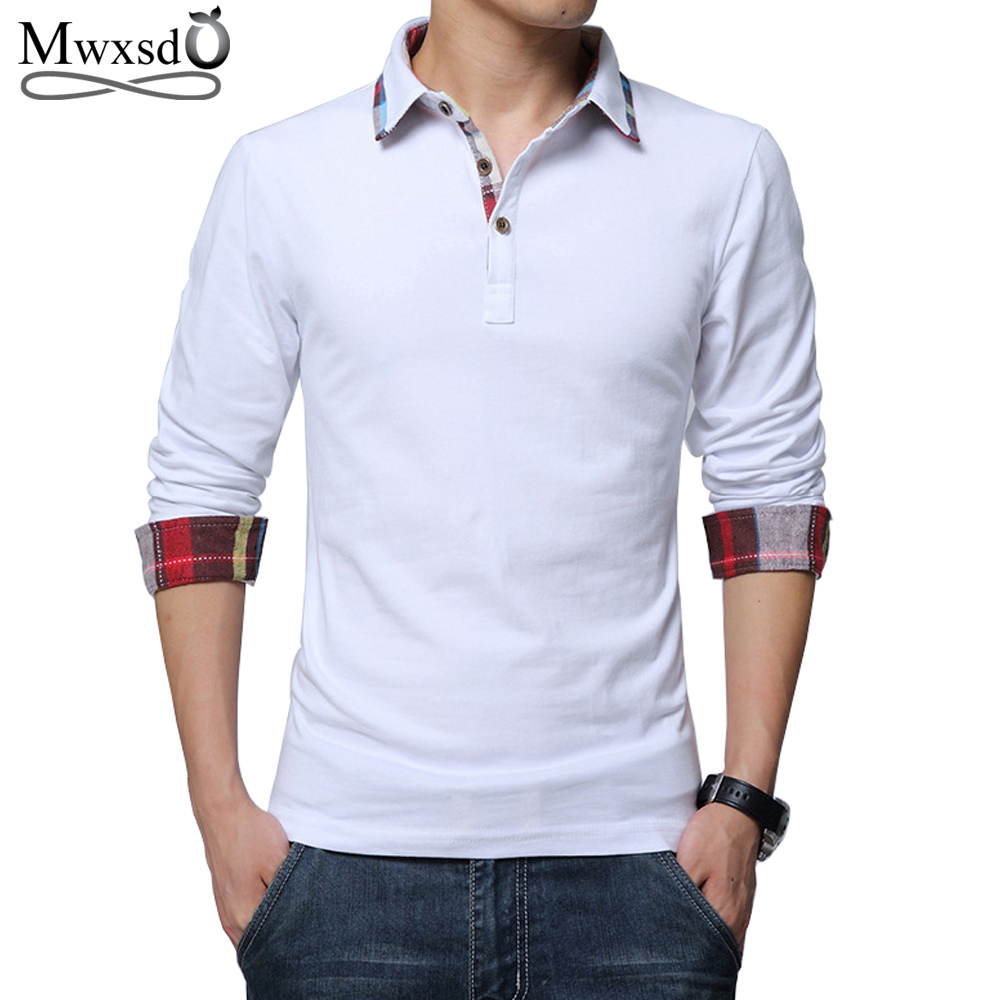 Mwxsd high quality brand casual men's cotton   polo   shirt spring Men solid long sleeve   Polo   shirt camisa   polo   masculino 4xl 5xl