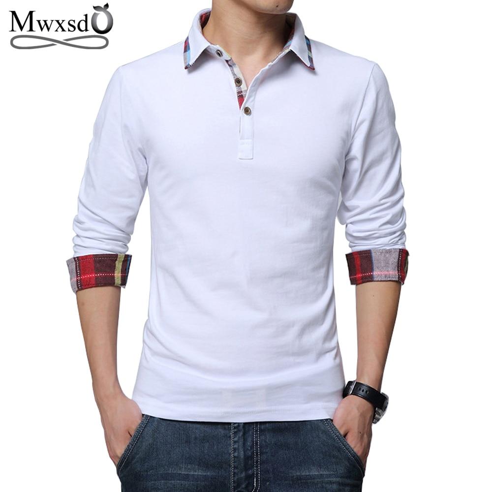Mwxsd high quality brand casual men's cotton polo shirt spring Men solid long sleeve Polo shirt camisa polo masculino 4xl 5xl