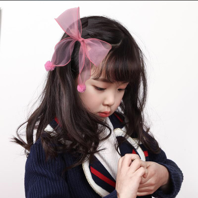 AOMU Red Pink Lace Chiffon Hair Accessories Korea Girls Princess Hair Clips Girls Big Net Yarn Bows Hairpin Kids Gift Headwear