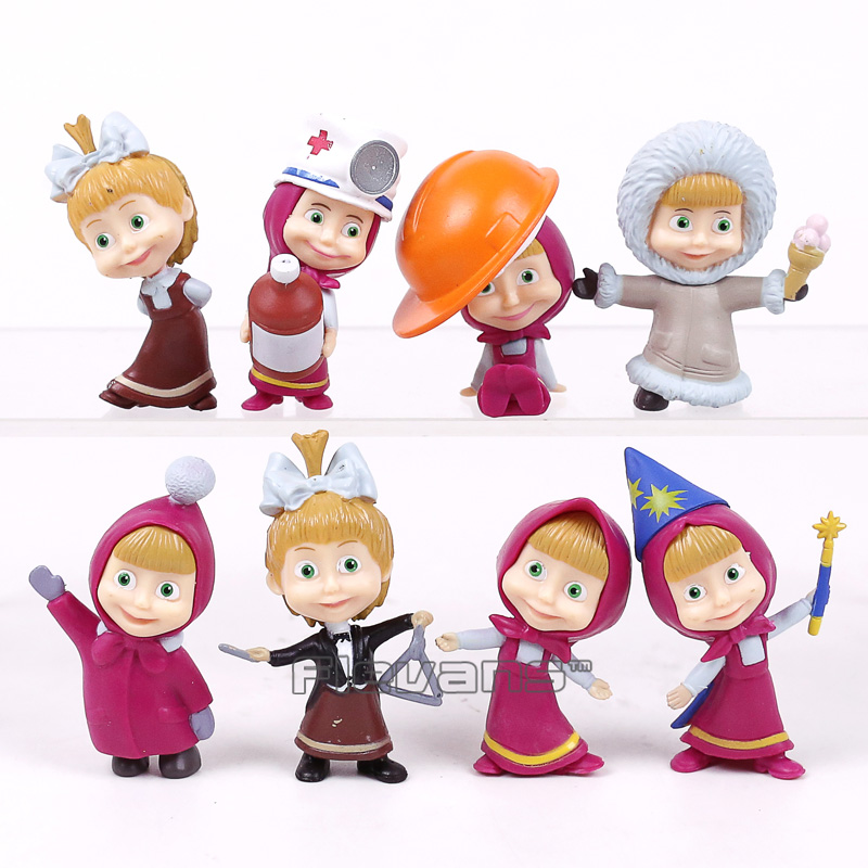 Cartoon Masha & The Bear Masha and Bear PVC Figures Toys Gifts for Kids Children Girls 8pcs/set 5~6cm 8pcs set the octonauts cartoon action figures kids toys captain barnacles medic peso model children birthday gifts with box