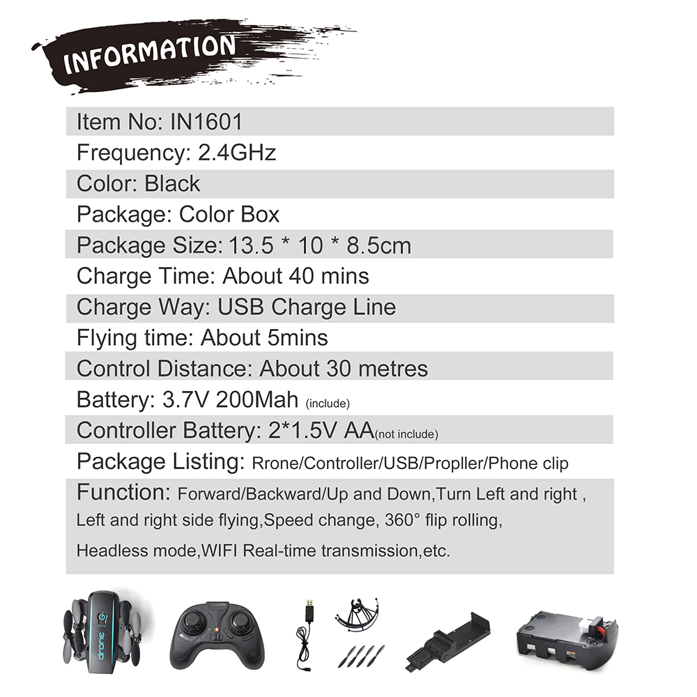 New Arrival IN1601 2.4G 720P 0.3MP Wifi FPV Foldable Mini Drone With Camera Altitude Hold RC Drone Quadcopter Selfie Drone Gifts (14)