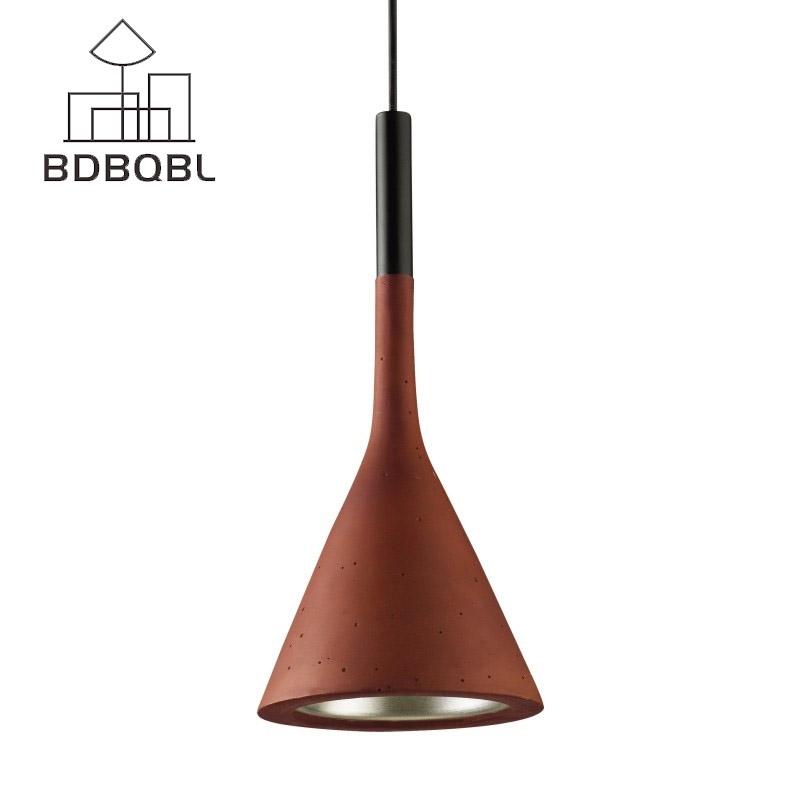 BDBQBL American Industrial Funnel Pendant Lamp Retro Cement Loft Nordic Creative Pendant Light Restaurant Bed Room Hanglamp