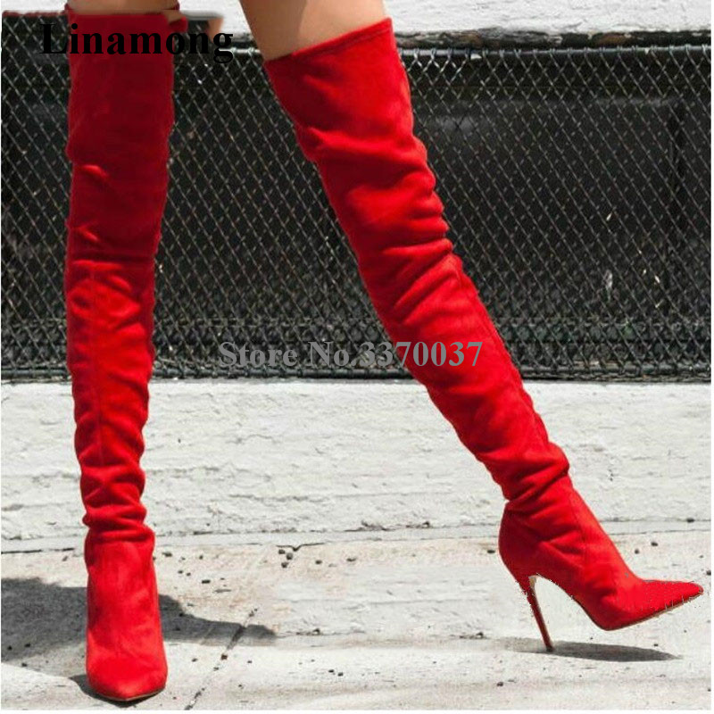 Women Sexy Brand Pointed Toe Suede Leather Thin Heel Over Knee Boots Red Grey Green Slim Style Long High Heel Boots Club Shoes new 2018 spring wine red pink velvet upper women long boots over the knee sexy pointed toe high thin heel boots shoes lady