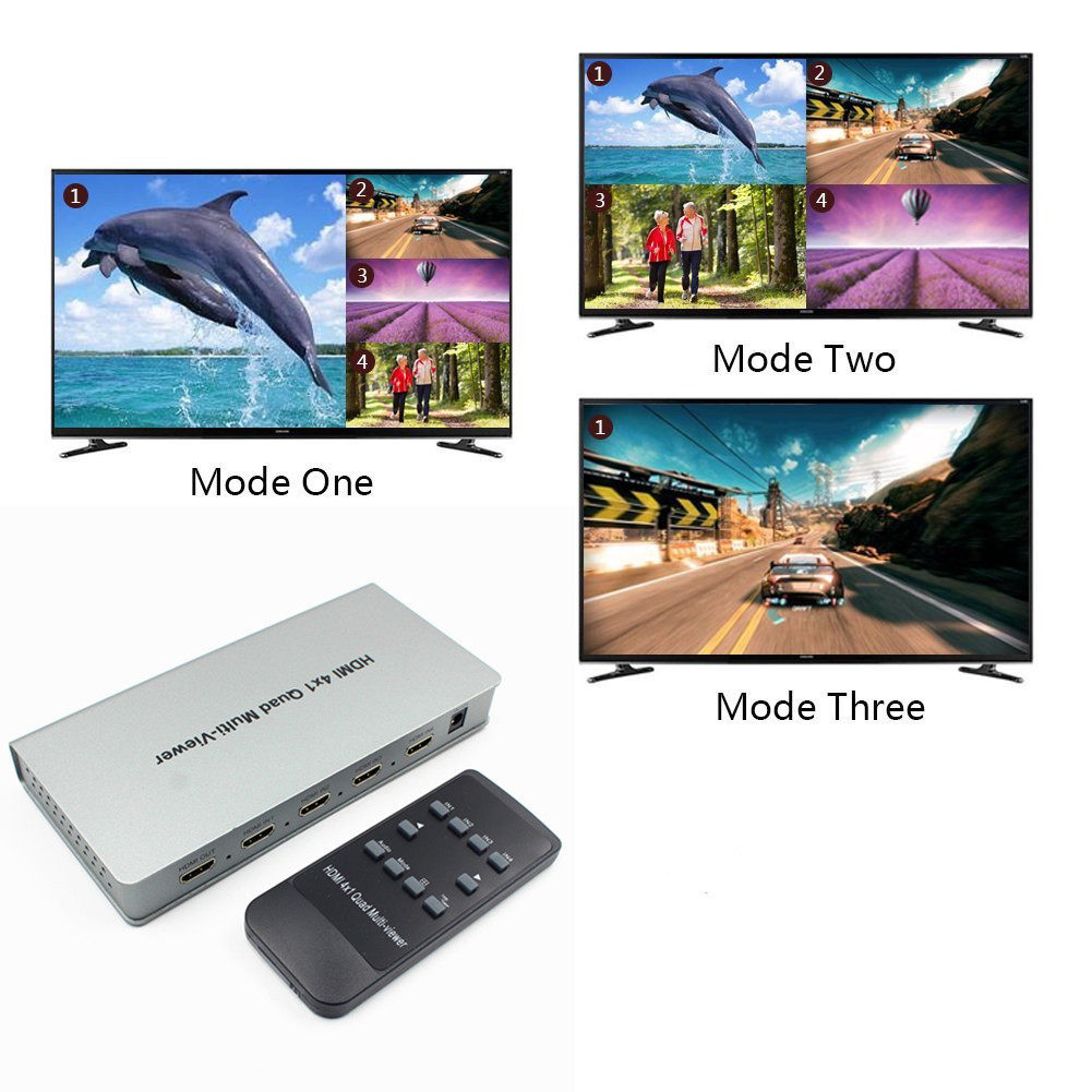 1080P Multi-viewer 4 in 1 Out Support Five Models Switching Splitter Display IR Control HDMI HDCP distributeur Video Switcher high quality v1 3 2x1 hdmi multi viewer box 1080p 2 in 1 out hdmi switch support hdcp 1 2 pip with 4 display modes