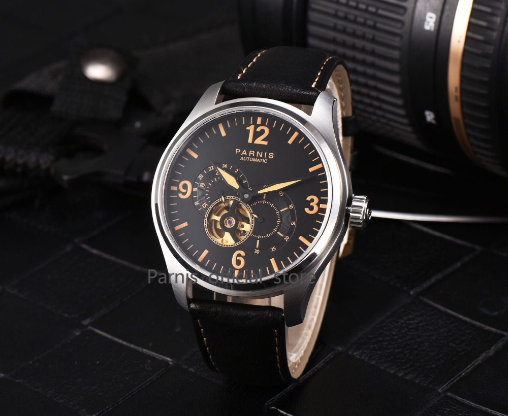 2017 Newly Issue Parnis Watches Men Skeletons Luminous Leather 12/24 - Relojes para hombres - foto 4