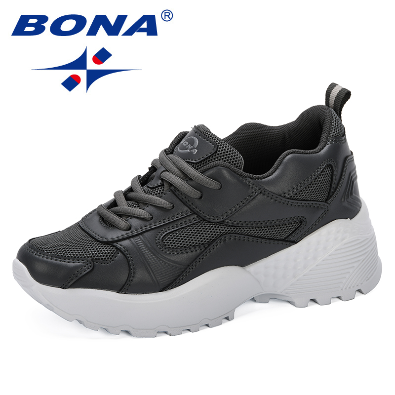 BONA 2019 Zapatos Mujer Woman Sneaker Tenis Feminino Fashion Classic Wedges Shoes ladies Increasing Sapato Female