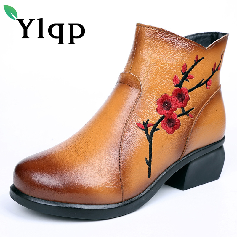 Ylqp Plus Size Genuine Leather Women Boots 2017 Spring Winter Fashion Warm Ankle Boots Warm Soft Outdoor Casual Mid Heels Shoes plus size 46 mens casual high top shoes winter warm plush ankle boots men shoes outdoor fashion cotton shoes mountain zapatos