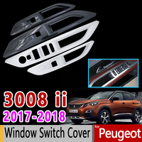 for Peugeot 3008 II Carbon Fiber Chrome Internal Window Switch Cover High Quality Car Accessories Stickers 3008 GT 2017 2018