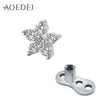 c838c1b246fa Aoedej 6mm estrella cristal micro Dermal Piercing Acero inoxidable Tops  Diver piel piercings superficie ocultar sexy Bisutería p.
