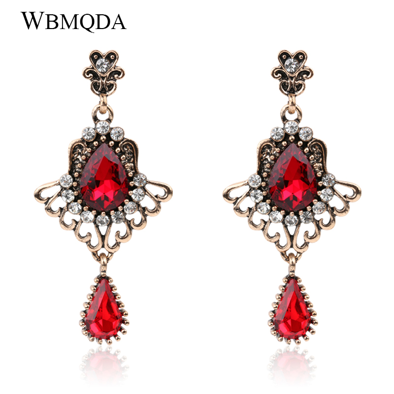 2018 Luxury Turkish Red Green Glass Crystal Earrings For Women Vintage Hollow Feather Wings Long Earrings Gold Bohemian Jewelry