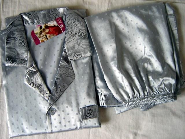 Gris de Los Hombres Chinos de Seda Rayón 2 unid Ropa de Dormir ropa de dormir Robe Pijamas Conjuntos de Baño Vestido L XL XXL SH003