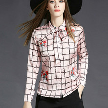 2017 Autumn plaid shirt women checkered shirts print satin blouse silk shirts formal work pink blouse bow tops body office top