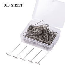 50 Pieces Wig T Pins for Holding Wigs Silver 32mm Long T-pins Styling Tools For Wig Display