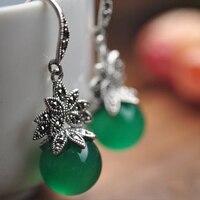 Réel 925 Sterling Argent Naturel Vert Pierre Boucles D'oreilles Pour Les Femmes Vintage Rétro Noir Strass Perles Goutte Bijoux