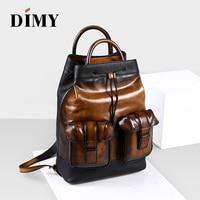 2018 Men Laptop Backpacks Men Genuine Leather 15.6 Inch Daily Work Backpack Schoolbag Vintage Style back pack mochila escolar