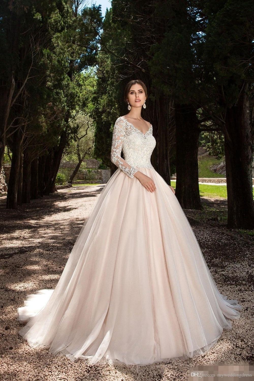 2017 vintage long sleeve wedding dresses lace appliques