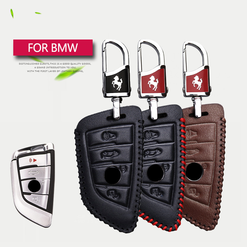 Genuine Leather Car Smart Key Case Cover Shell Key Holder