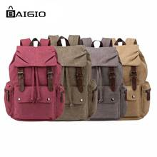 BAIGIO Canvas Backpacks 2017 Ladies Canvas Backpacks for Teenage Girls Boys Classic Preppy Schoolbag Large Women's Travel Bags