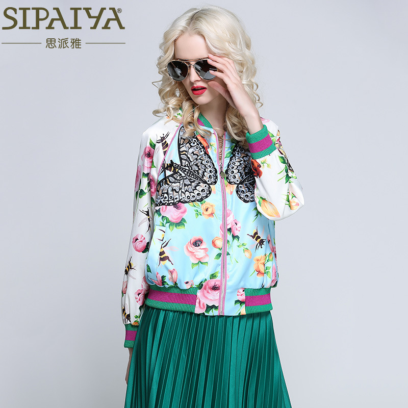 2017 Women's Autumn Spring Silk Outfit Long Sleeve Baseball Jacket New Heavy Butterfly Embroidery With Flower Print Women Jacket