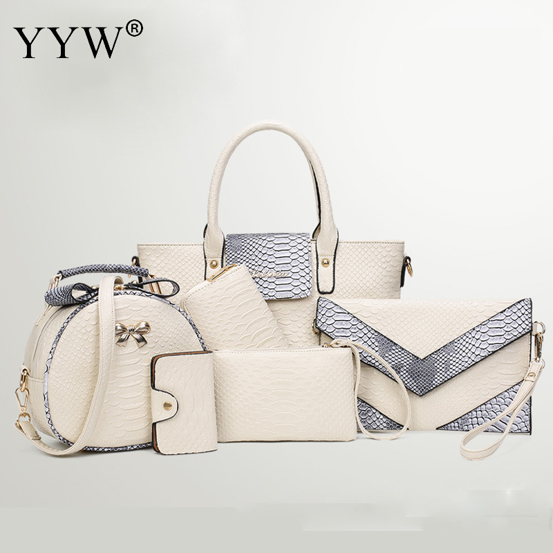 Luxury Brands Designer 6 bags/set Alligator PU leather Women Tote Bags Long Wallet Patchwork Female Shoulder bags with Purse